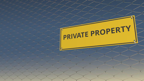PRIVATE PROPERTY sign an a mesh wire fence against blue sky. 3D animation Live Action