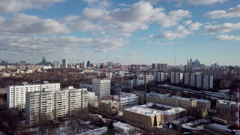 Aerial Moscow City shooting cityscape Live Action