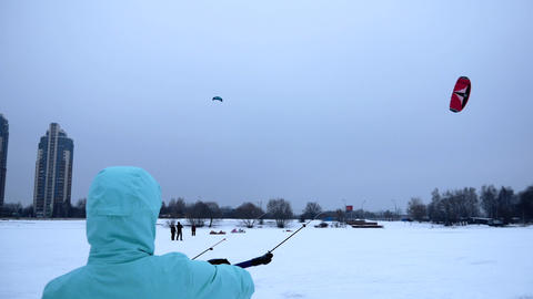 Girl learns to fly with a kite Footage
