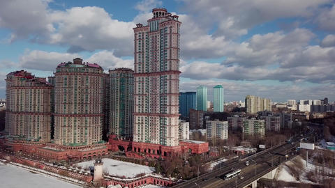 Aerial Moscow City shooting cityscape Footage