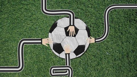 Long Hand Assembling a Soccer Ball Cutout Retro Style Footage