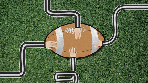 Long Hand Assembling a Football Cutout Retro Style with Confetti Footage