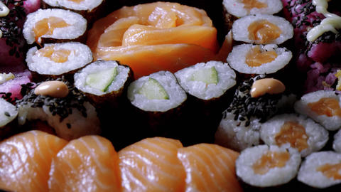 Close up of freshly made Sushi on a plate Footage