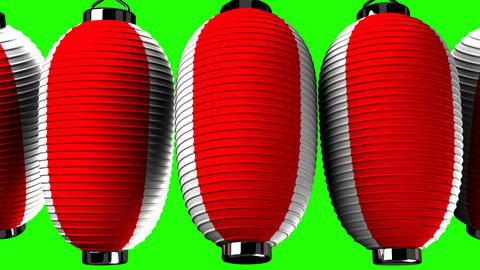 Red and white paper lantern on green chroma key CG動画