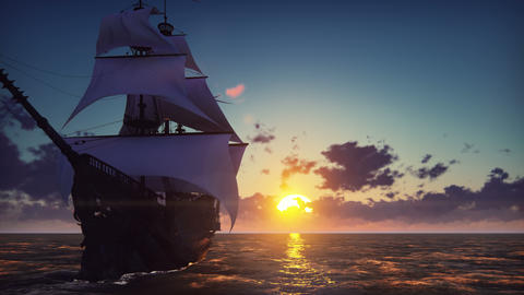 Large medieval ship on the sea on a sunset. The old medieval ship gracefully Animation
