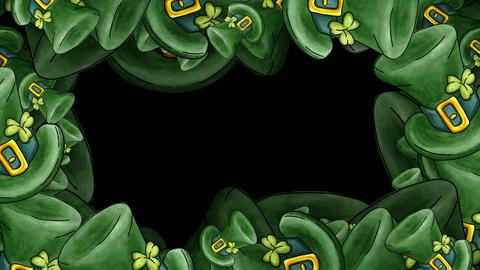 Leprechaun Hats Frame with alpha - St. Patricks Stock Video Footage