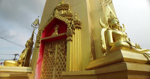 Close up Golden Buddha Statue in Thai Temple 4K Footage