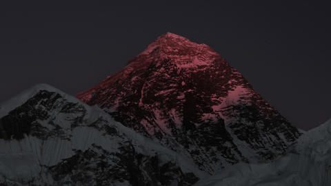Panning shot of Time-lapse of Mount Everest at sunset Footage