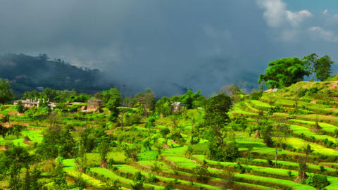 Time-lapse of a terraced, cultivated hillside in Nepal. Cropped Footage