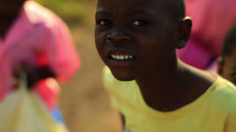 Kenyan boys and girls smiling and laughing Footage
