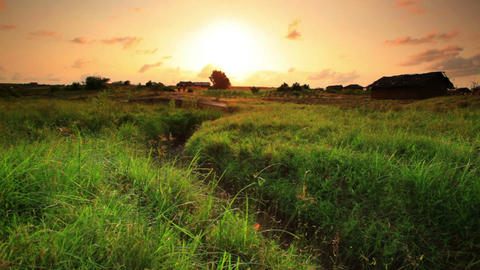 Green field and dry ravine at sunset in Kenya Footage
