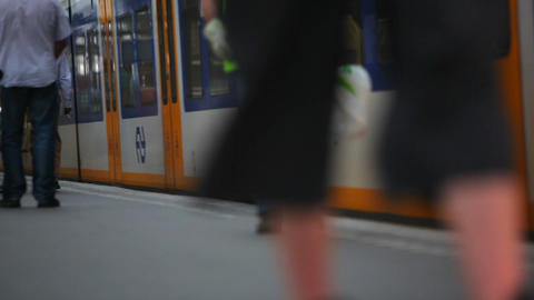 People walking along platform as train pulls up and stops Footage