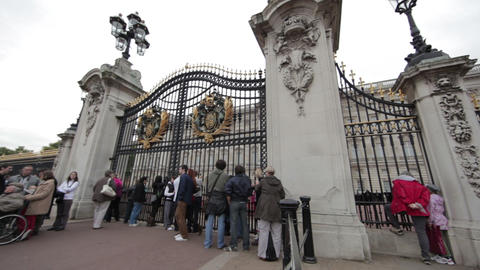The gates at Buckingham Palace in London Footage
