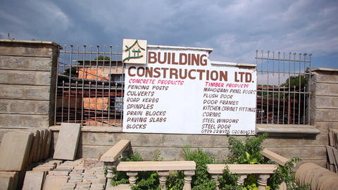 Construction sign on fence Footage