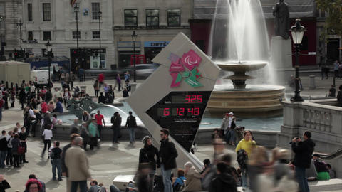 LONDON - OCTOBER 9: Olympic countdown sign on October 9, 2011 in London Footage