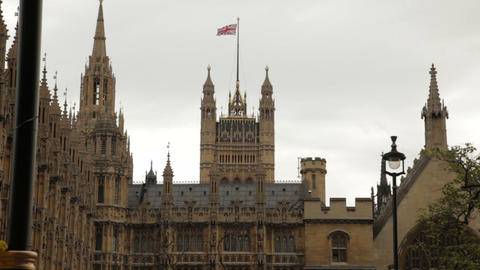 Westminster Palace with the Union Jack above Footage
