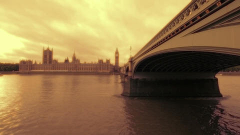 Westminster, Big Ben and Westminster Bridge in London Footage