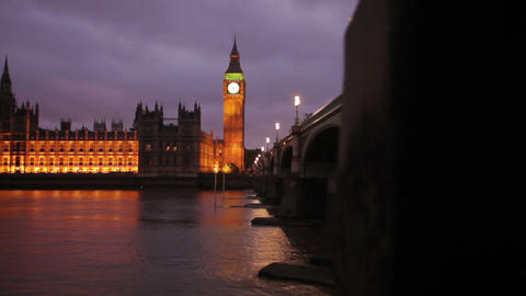 Evening shot of Westminster and Big Ben in London Footage