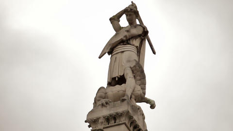 Statue of St. George slaying the dragon near Westminster Abbey, London Footage