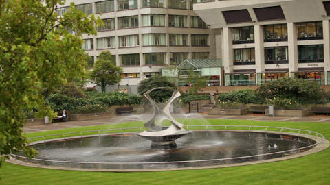 Revolving Torsion Fountain Sculpture in London, England Footage