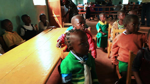 KENYA-C.2012 Small African children sit at small tables in a Kenya, Africa schoo Footage