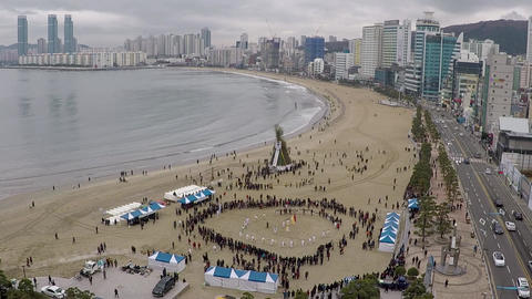 JeongwolDaeboruem the Lunar New Year's Eve event in Gwangalli Beach, Busan, Footage