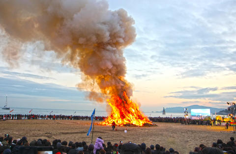 JeongwolDaeboruem the Lunar New Year's Eve event in Haeundae Beach, Busan, South Photo