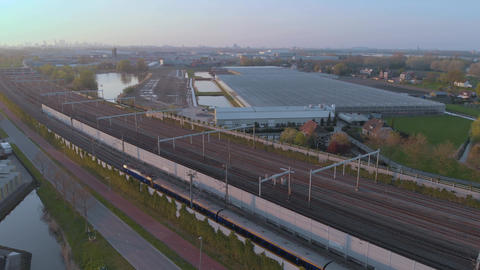 Aerial Betuweroute train route in Netherlands Betuwelijn Footage