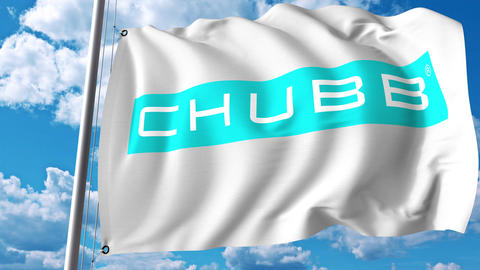 Waving flag with Chubb Limited logo. 4K editorial animation Live Action