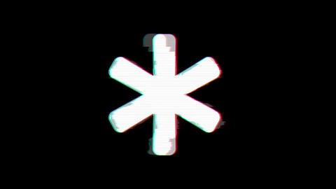 From the Glitch effect arises asterisk symbol. Then the TV turns off. Alpha Animation