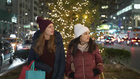 Women on Christmas shopping tour in New York Live Action