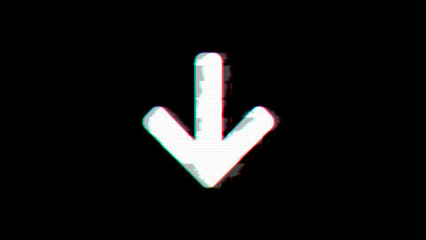 From the Glitch effect arises arrow down symbol. Then the TV turns off. Alpha Animation