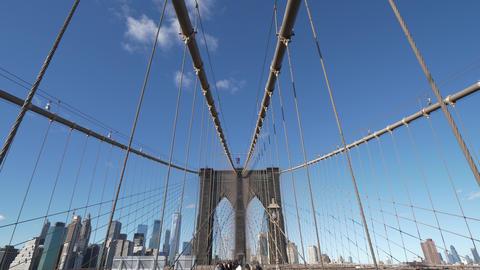 Famous landmark in New York the wonderful Brooklyn Bridge Live Action