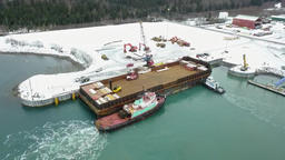 Work boats working in Alaska Footage