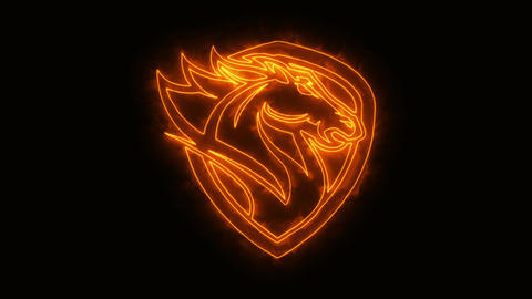 Orange Burning Head Horse Animated Logo Element with Reveal Effect Animation