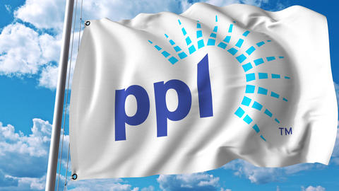 Waving flag with PPL Corporation logo. 4K editorial animation Footage