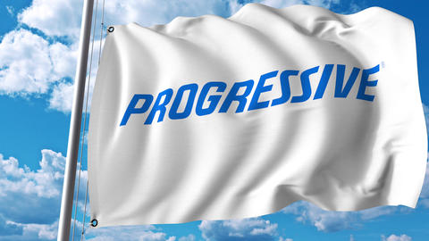 Waving flag with Progressive Corporation logo. 4K editorial animation Live Action