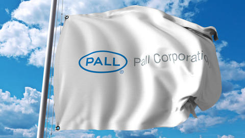 Waving flag with Pall Corporation logo. 4K editorial animation Footage