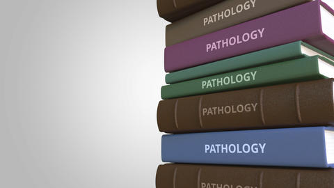 Stack of books on PATHOLOGY, loopable 3D animation Live Action
