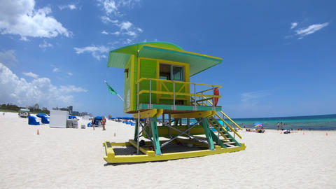Lifeguard Tower And Sea At South Beach In Miami Florida Footage