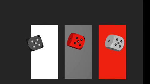 Red Black White Dice Loop Moving, 3D Rendering 4K Animation