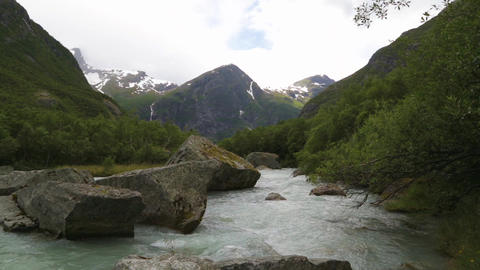 Landscape with river near Briksdalsbreen glacier Footage