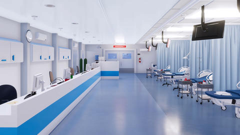 With no people interior of hospital emergency room Stock Video Footage