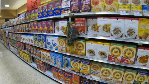 Breakfast Food Cereals Snacks Cookies On American Supermarket Store Shelves GIF
