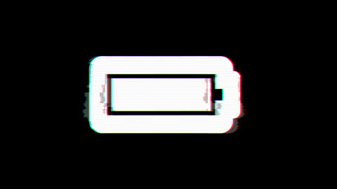 From the Glitch effect arises battery full symbol. Then the TV turns off. Alpha Animation
