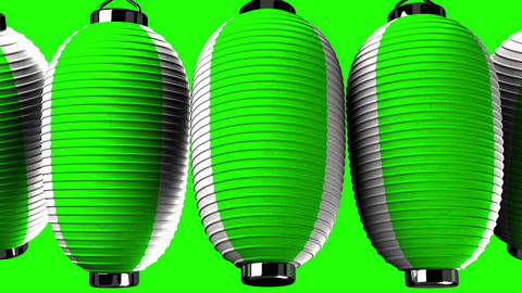 Green and white paper lanterns on green background Animation