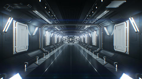Moving Through the Futuristic Spaceship Tunnel with Opening Metal Gates and Footage