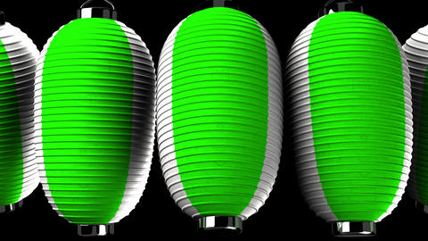 Green and white paper lanterns on black background CG動画