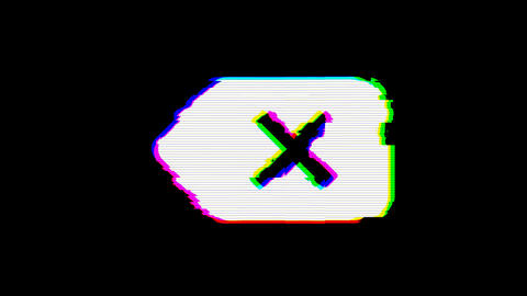 From the Glitch effect arises backspace symbol. Then the TV turns off. Alpha Animation