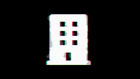 From the Glitch effect arises building symbol. Then the TV turns off. Alpha Animation